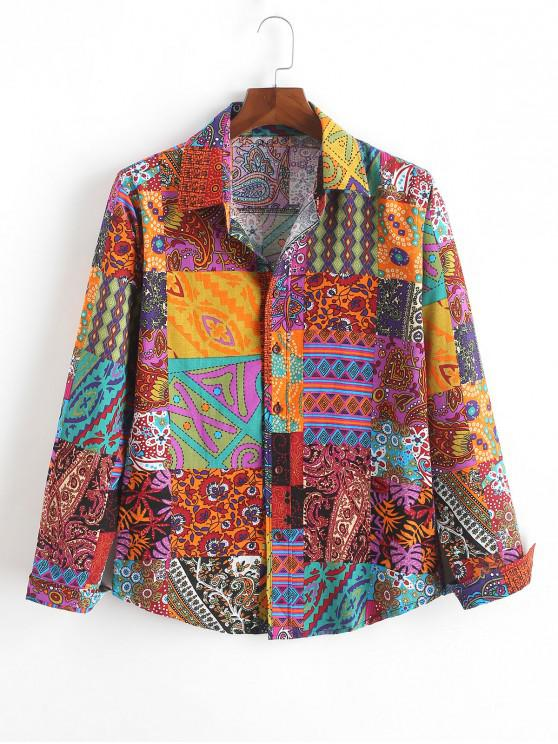 trendy Ethnic Tribal Paisley Flower Geometric Print Shirt - MULTI-A S