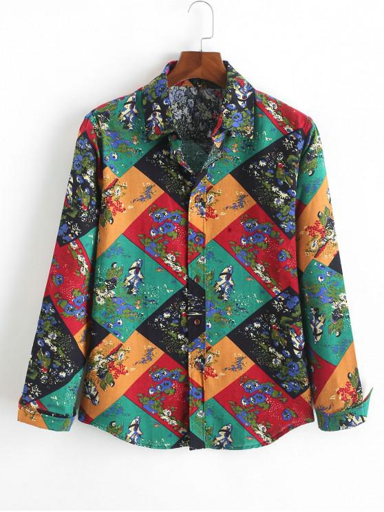 online Geometric Color Block Painting Tribal Print Button Shirt - MULTI-B XS