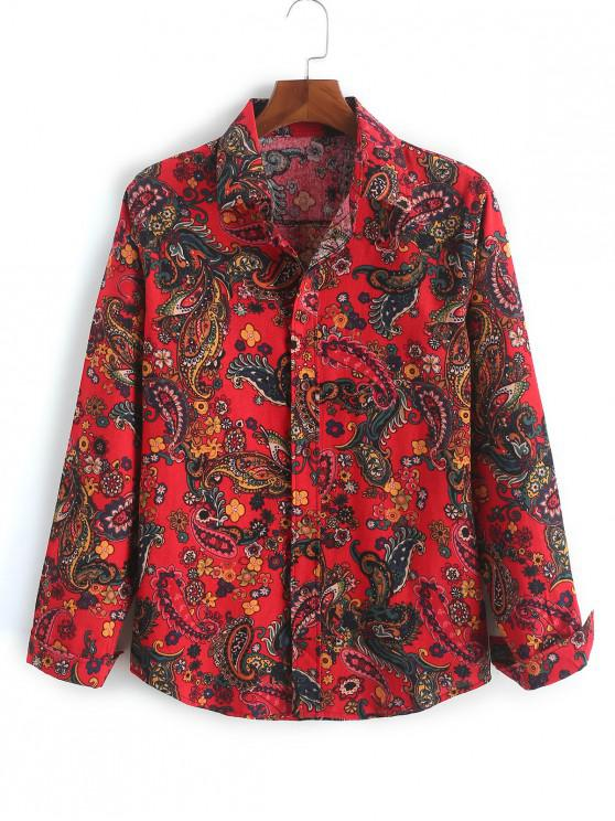 trendy Ethnic Paisley Ditsy Print Long Sleeves Button Shirt - RED WINE 2XL