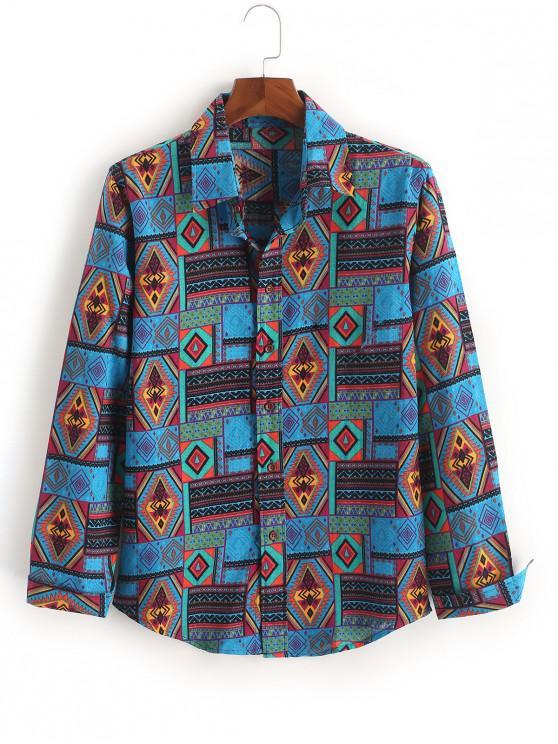 Camicia casual a bottone geometrico stampa tribale etnico - Blu Mirtillo L