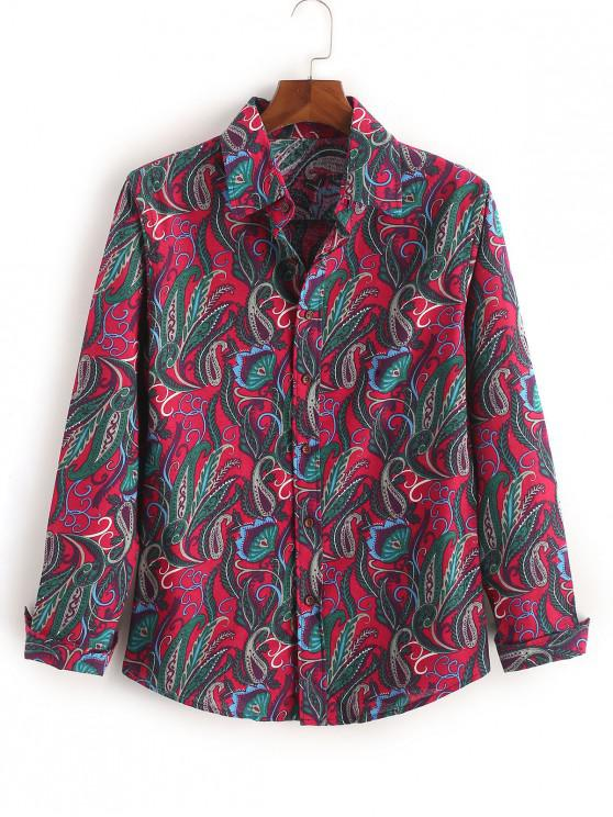 women Ethnic Tribal Leaf Paisley Print Long Sleeves Shirt - ROSE RED L