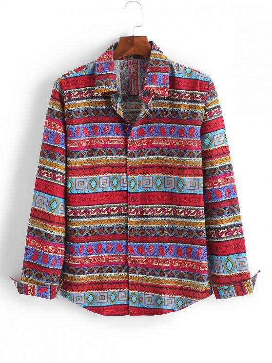 lady Geometric Paisley Floral Tribal Print Long Sleeves Shirt - MULTI-F L