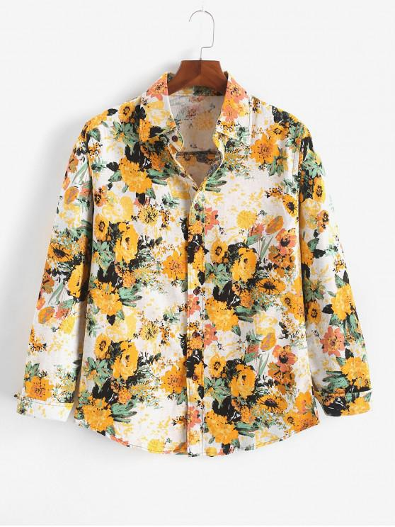 outfits Ditsy Allover Print Cuever Hem Button Shirt - MUSTARD XS