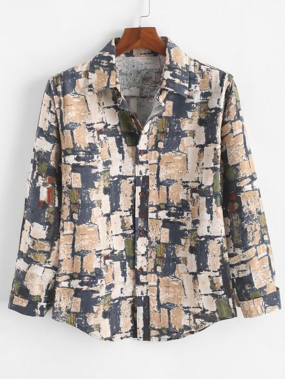 fancy Distressed Geometric Graphic Painting Print Button Casual Shirt - MULTI-C 2XL