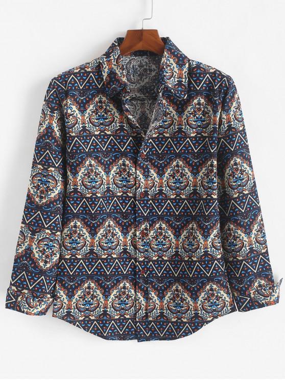 chic Ditsy Tribal Print Button Shirt - MIDNIGHT BLUE L