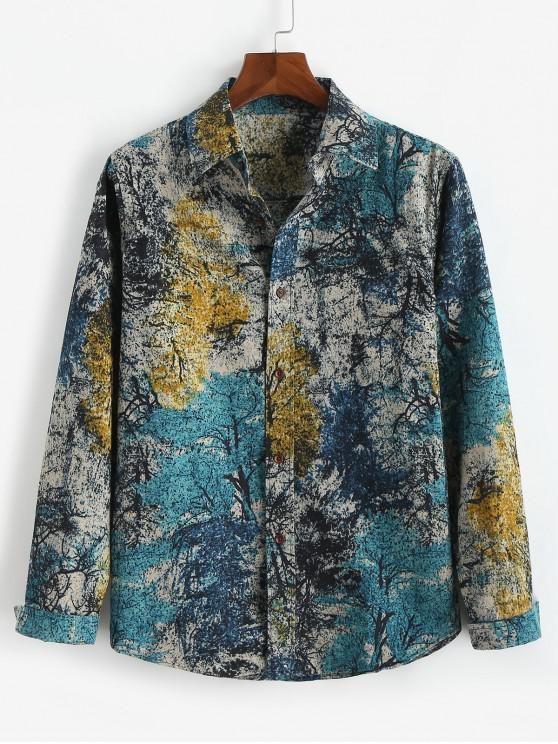 outfit Colorful Ink Painting Tribal Print Long Sleeves Shirt - DODGER BLUE XS