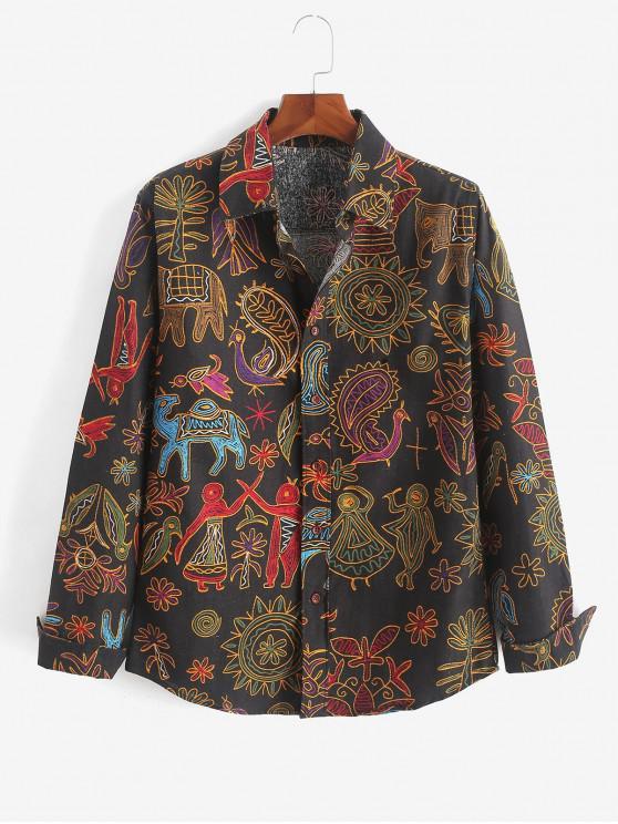 latest Tribal Floral Paisley Print Long Sleeves Shirt - MULTI-H L