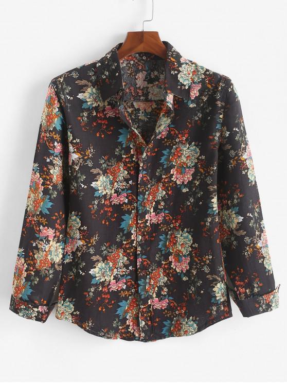 sale Tribal Flower Allover Print Curved Hem Casual Shirt - JET BLACK 2XL