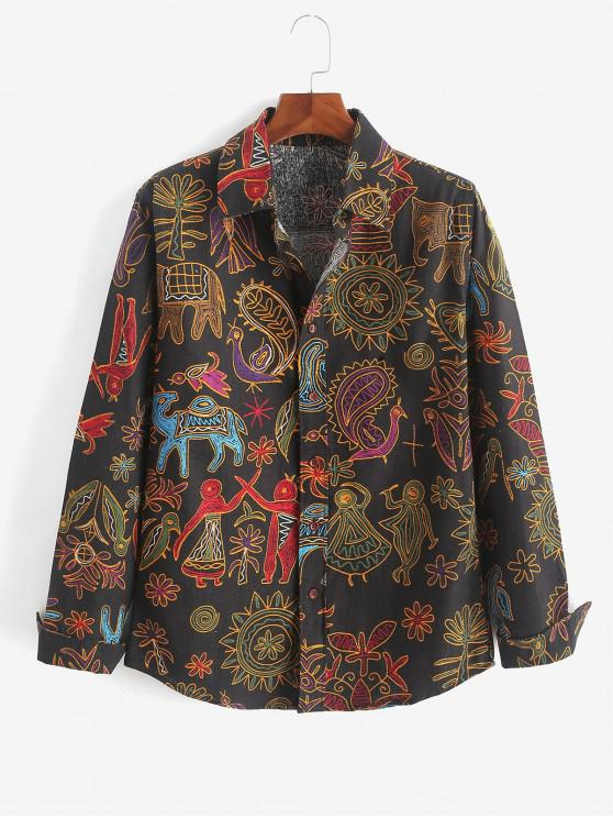 lady Tribal Floral Paisley Print Long Sleeves Shirt - MULTI-H XS
