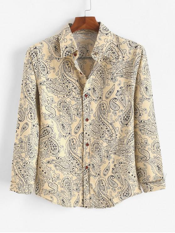 buy Tribal Ditsy Paisley Print Curved Hem Casual Shirt - BEIGE 2XL