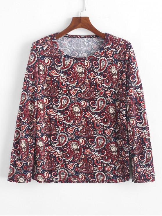 womens Floral Paisley Print Long Sleeves Bohemian T-shirt - MULTI-A M