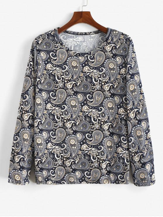 new Floral Paisley Print Long Sleeves Bohemian T-shirt - MULTI 2XL