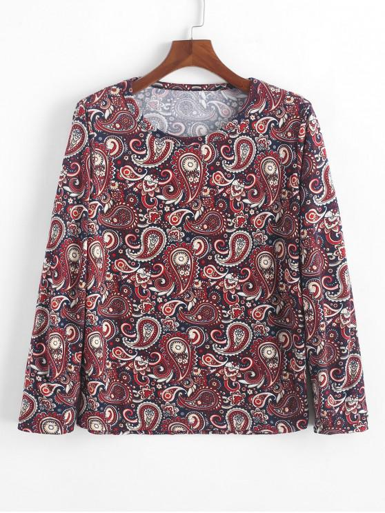 Camiseta bohemia con estampado floral de manga larga de Paisley - Multicolor-A XL
