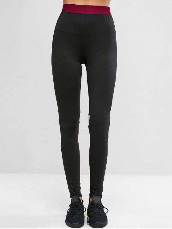 unique ZAFUL Colorblock High Waisted Gym Stretchy Leggings - BLACK L