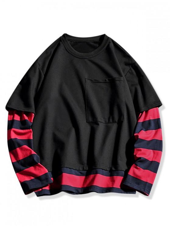 women's Contrast Stripe Spliced Faux Twinset Pocket Sweatshirt - BLACK XL