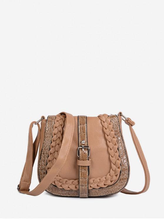 ladies Saddle Shape Buckle Design Shoulder Bag - LIGHT KHAKI