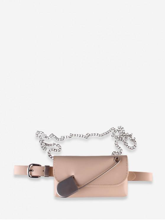 hot Ins Leather Pin Decorate Belt Bag - APRICOT