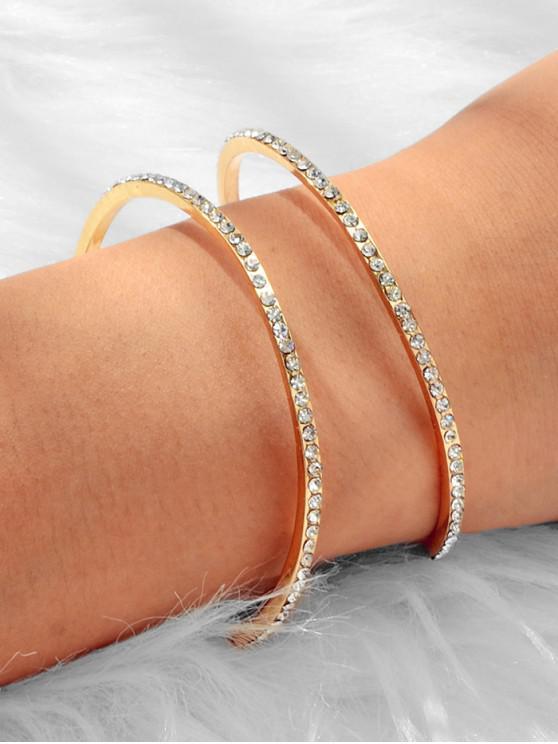 shops Rhinestone Hollow Cuff Open Bracelet - GOLD