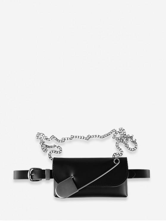 trendy Ins Leather Pin Decorate Belt Bag - BLACK