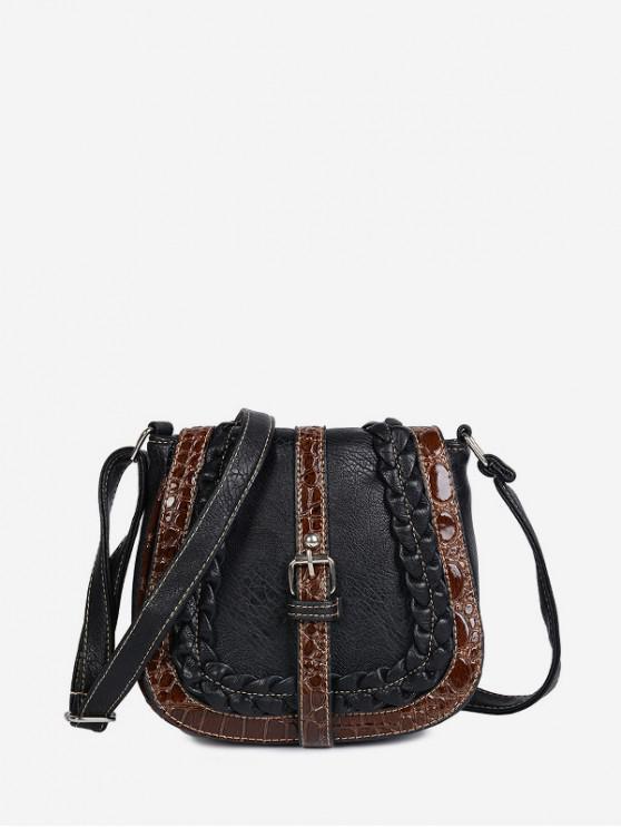 La bolsa de la hebilla del diseño de la forma de silla de montar - Negro
