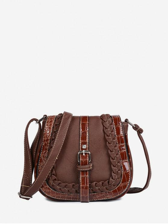 lady Saddle Shape Buckle Design Shoulder Bag - DEEP BROWN