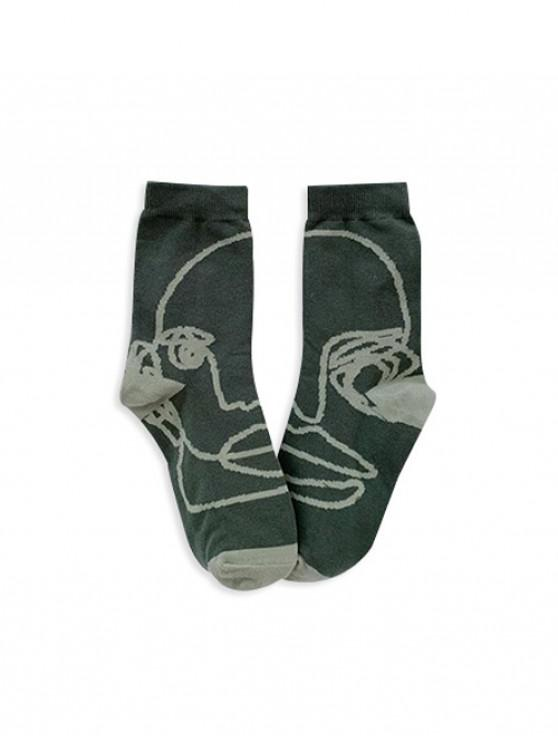 fashion Vintage Style Print Cotton Floor Socks - FERN GREEN