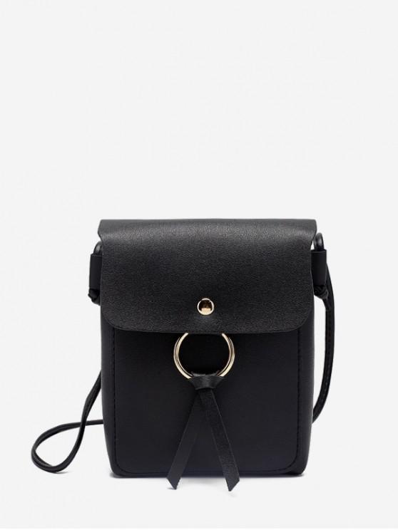 outfit O-ring Mini PU Leather Crossbody Bag - BLACK