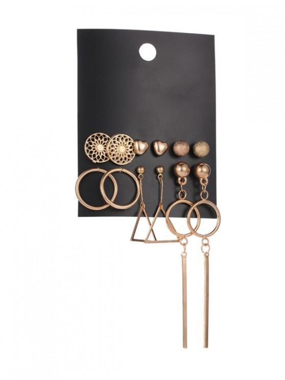 6 Stück Herz-Kreis-Bolzen-Tropfen-Ohrring-Set - Gold