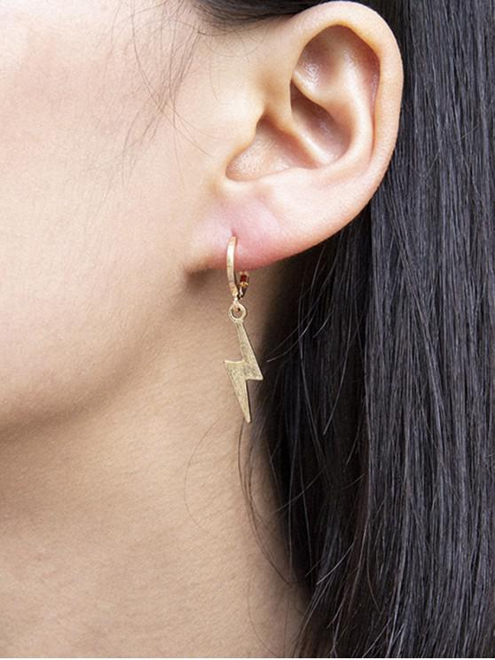 trendy Lightning Huggie Drop Earrings - GOLD