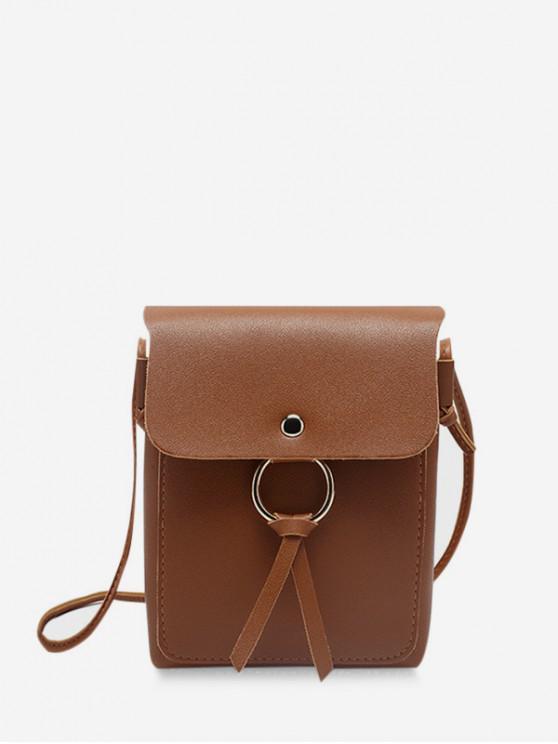 fancy O-ring Mini PU Leather Crossbody Bag - LIGHT BROWN