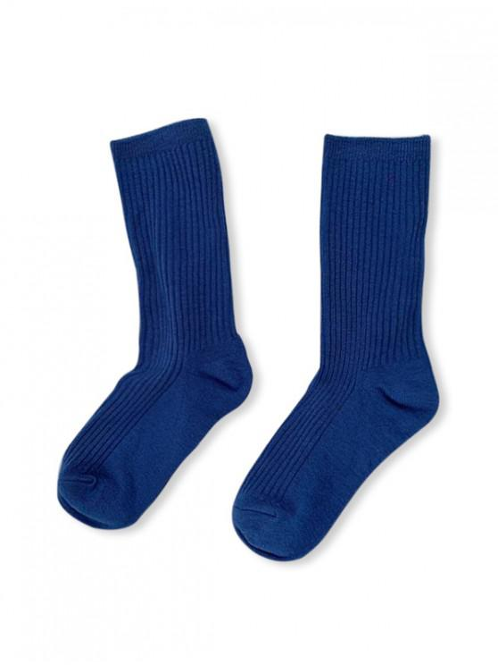 online Solid Color Design Cotton Floor Socks - BLUE