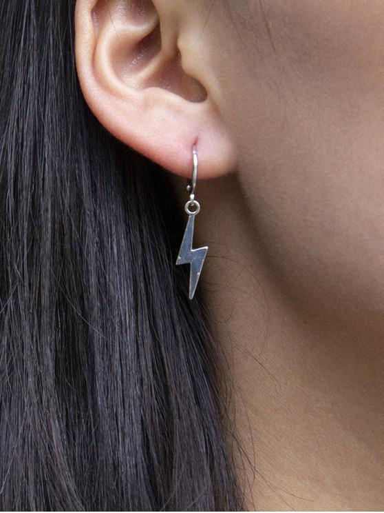 chic Lightning Huggie Drop Earrings - SILVER