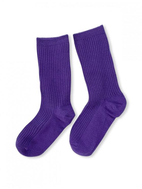 Chaussettes en Couleur Unie Design en Coton - Pourpre