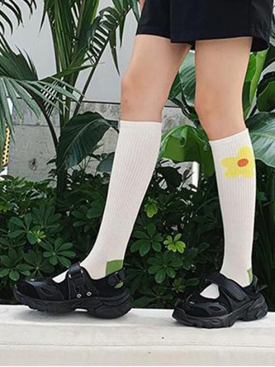 Chaussettes Longueur à Genou Fleur Imprimée - Jaune