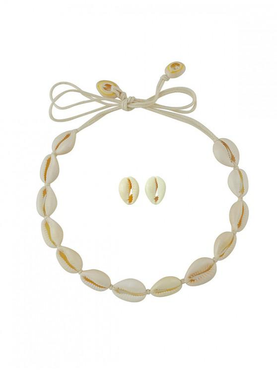 hot Beach Shell Cord Necklace Earrings Set - CORNSILK