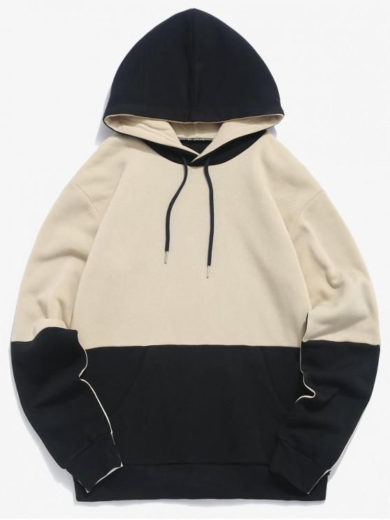 unique Colorblock Print Casual Drawstring Hoodie - LIGHT KHAKI M