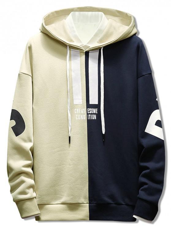 fashion Contrast Color Letter Pullover Hoodie - BEIGE L