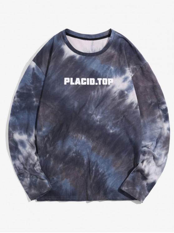 Camiseta de manga larga con estampado Tie Dye Print - Lapislázuli L