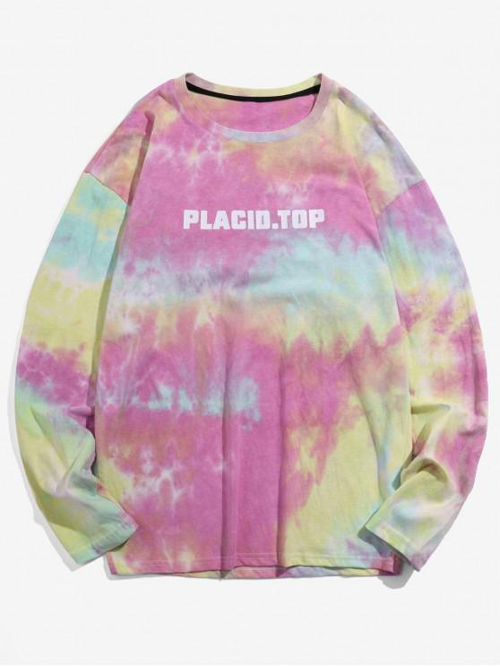 ladies Letter Tie Dye Print Long Sleeves T-shirt - PIG PINK XL