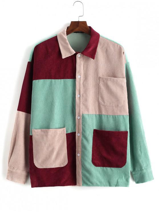 best Color Block Splicing Multi Pocket Button Jacket - MULTI L