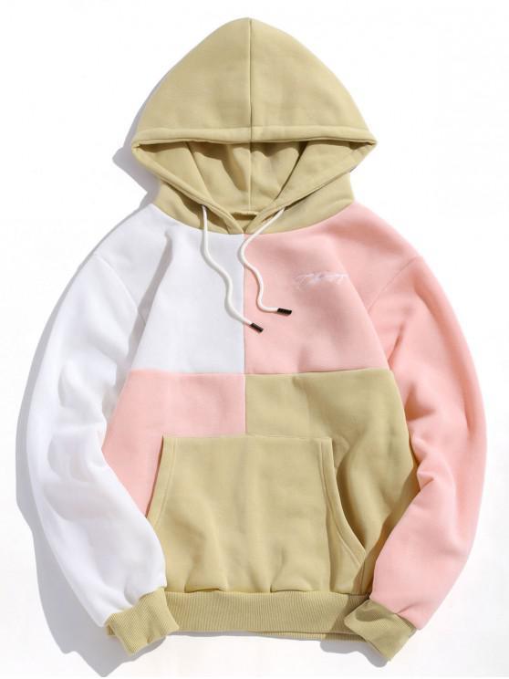shop Casual Color Spliced Pouch Pocket Hoodie - LIGHT KHAKI L