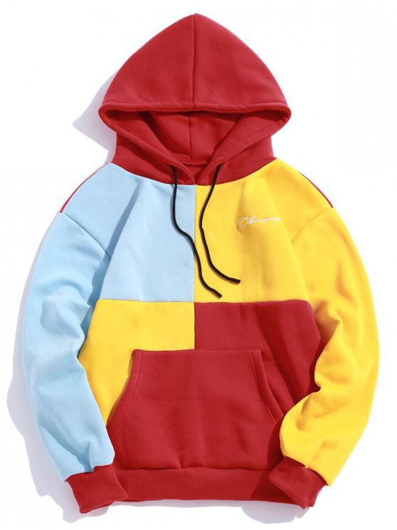 sale Casual Color Spliced Pouch Pocket Hoodie - RED M