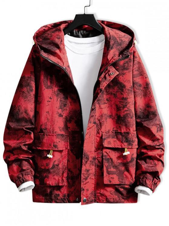 Камуфляжный принт буквы Карман С капюшоном Куртка - Красный 3XL