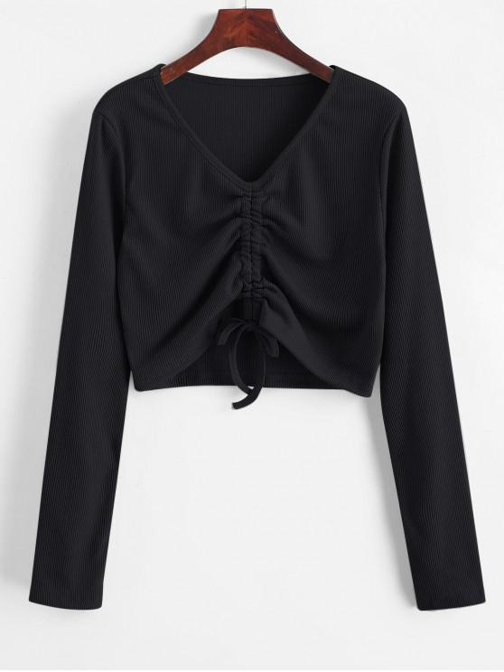 fancy Cinched V Neck Crop Knitwear - BLACK S