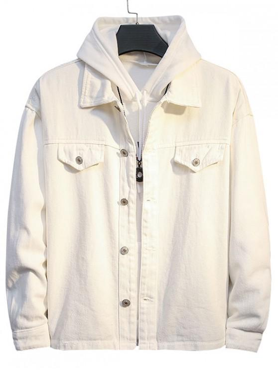 shop Casual Solid Color Button Up Denim Jacket - WHITE M