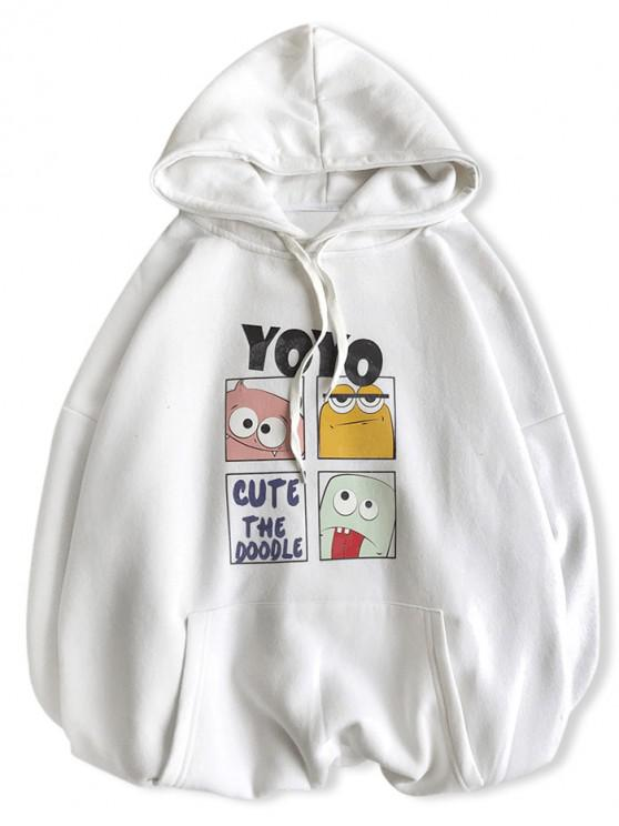 latest Cute Cartoon Doodle Graphic Drop Shoulder Fleece Hoodie - WHITE S