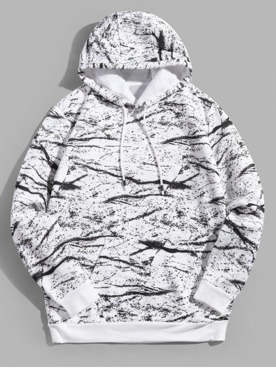 fancy Marble Texture Print Drawstring Pullover Fleece Hoodie - WHITE XS