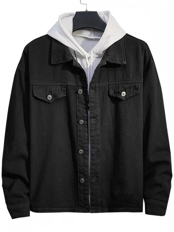womens Casual Solid Color Button Up Denim Jacket - BLACK M