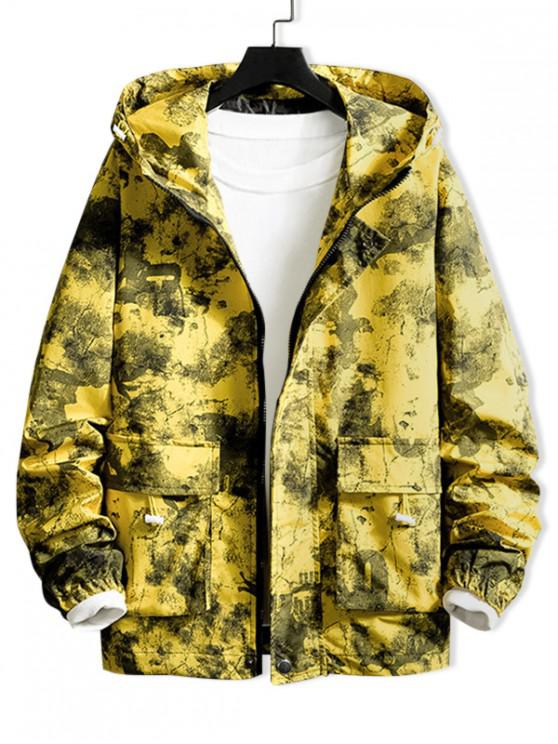Pintura de camuflaje impresión de la letra de la aleta de bolsillo de la chaqueta con capucha - Amarillo 3XL