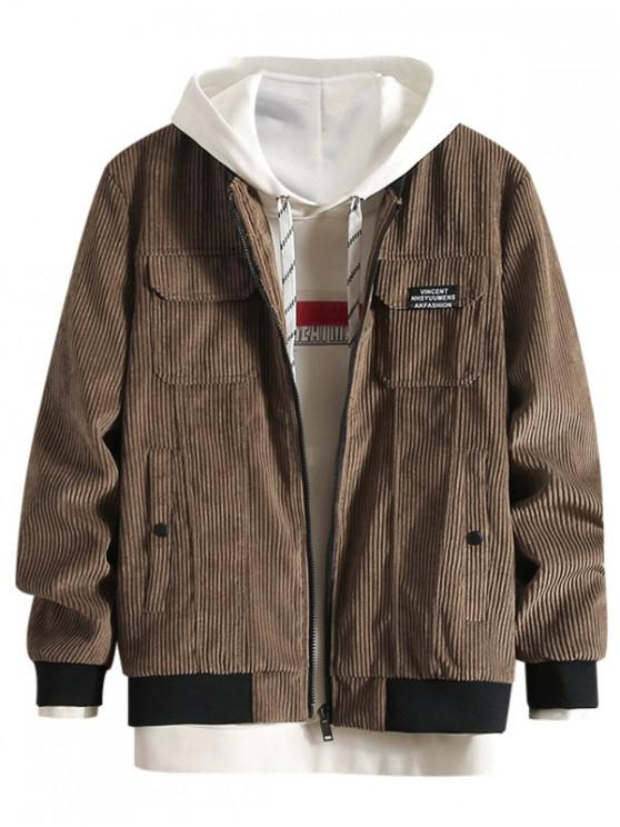 fancy Letter Pattern Casual Pocket Jacket - CAMEL BROWN L